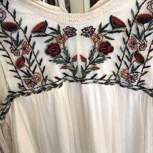 Zara Long sleeve embroidered white dress